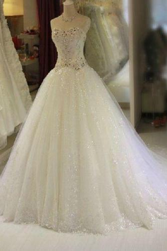 Princess Gliter Tulle Wedding Dress Bridal Gown