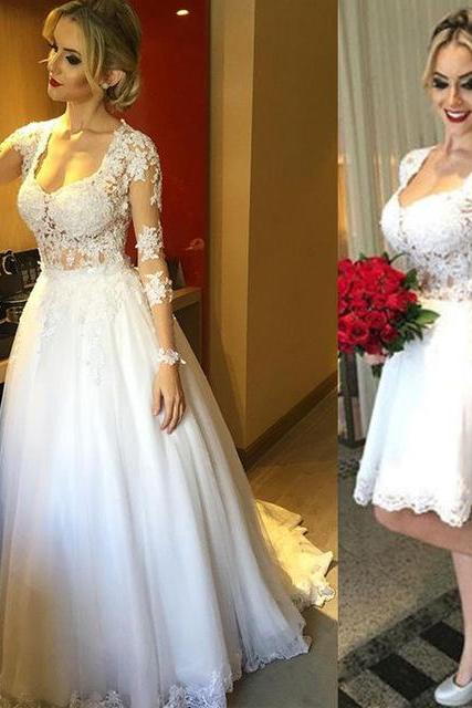 2 Pieces in 1 Bridal Wedding Dress Formal Occasion Dress
